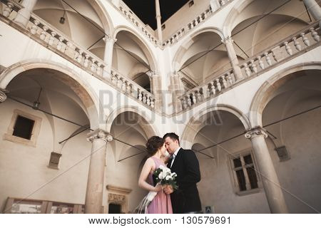 Happy wedding couple, groom, bride with pink dress hugging and smiling each other on the background walls in castle.