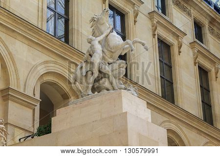Paris, France - May 12: This is sculptural group Guillaume Coustou
