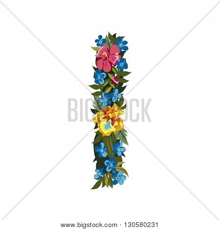 I letter. Flower capital alphabet. Colorful font. Uppercase. Vector illustration. Grotesque style. Floral alphabet.