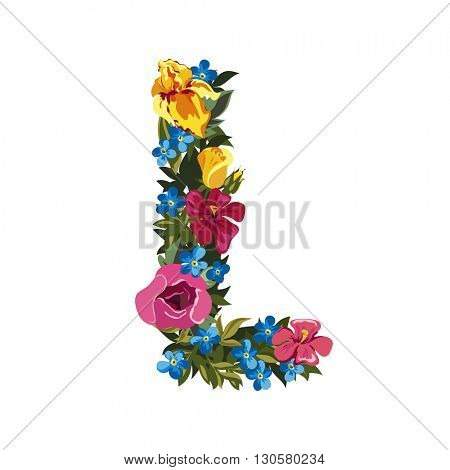 L letter. Flower capital alphabet. Colorful font. Uppercase. Vector illustration. Grotesque style. Floral alphabet.