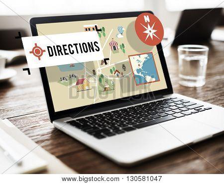 Direction Journey Location Magnetic Navigation Concept