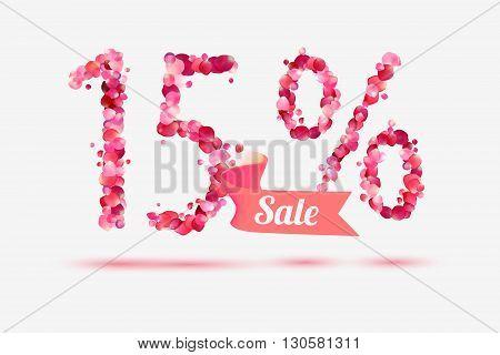 fifteen (15) percents sale. Vector digits of pink rose petals