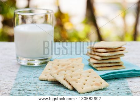 Square biscuit cracker with fresh milk in a wooden bowl on tropical summer background