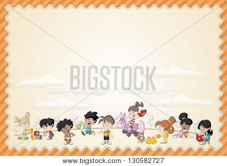 Card with a group of happy cartoon children playing