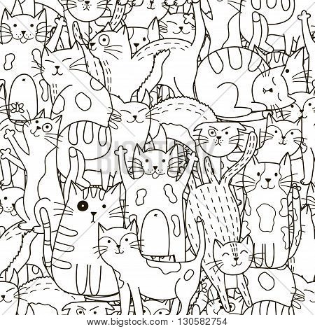 Doodle cats seamless pattern. Black and white cute cats background. Great for coloring book, wrapping, printing, fabric and textile. Vector illustration