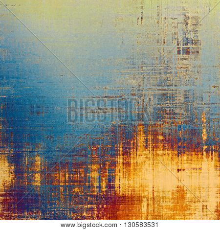 Vintage style designed background, scratched grungy texture with different color patterns: yellow (beige); blue; red (orange); purple (violet); cyan