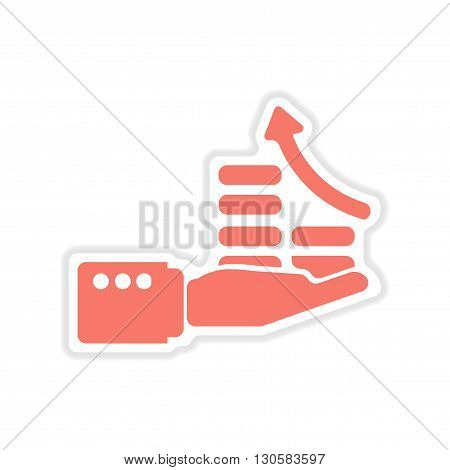 paper sticker on white  background economic graph hand