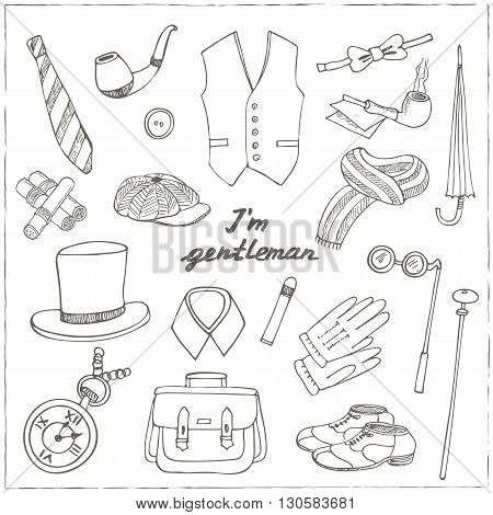 Gentlemans vintage accessories doodle set. Sketches. Hand-drawing. Vector illustration of for design and packages product.