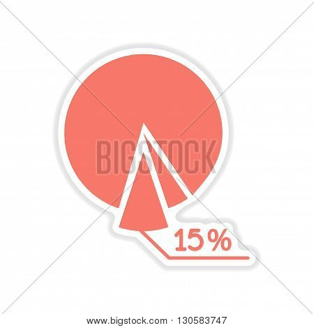 paper sticker on white  background economic chart