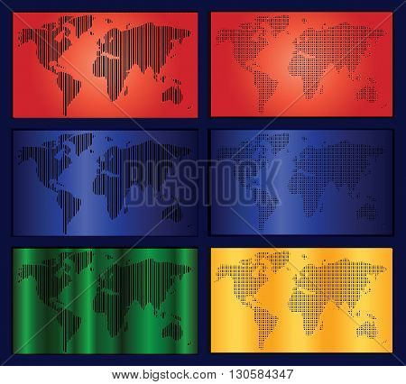 World Map In Stripes, Bars - Abstract Background.