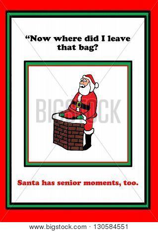 Christmas cartoon of Santa Claus having a senior moment.