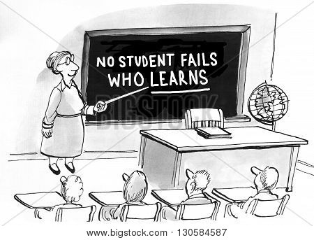 Education cartoon about a teacher who believes the key is learning.
