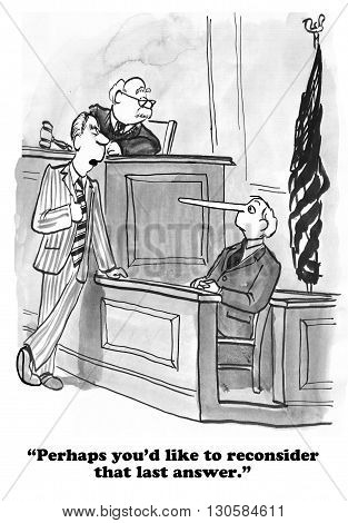 Legal cartoon about a witness who is lying on the witness stand.