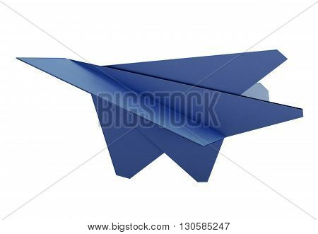 Model paper airplane on white background. Origami plane. Blue paper airplane. 3d rendering