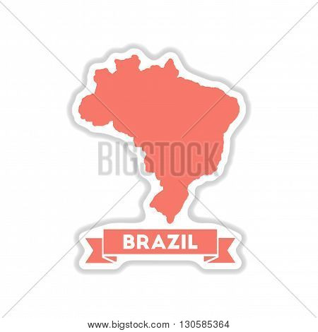 paper sticker on white  background Brazil map