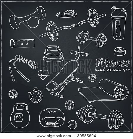 Set of Fitness bodybuilding diet and health care sketch icons. Isolated vector illustration