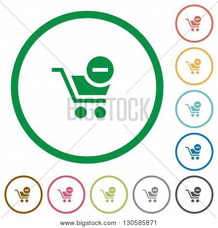Set of Remove from cart color round outlined flat icons on white background