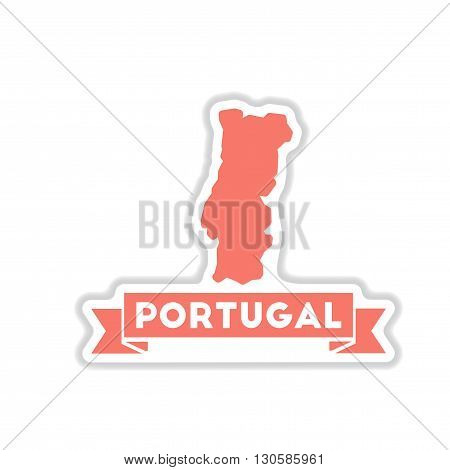 paper sticker on white  background Portugal map