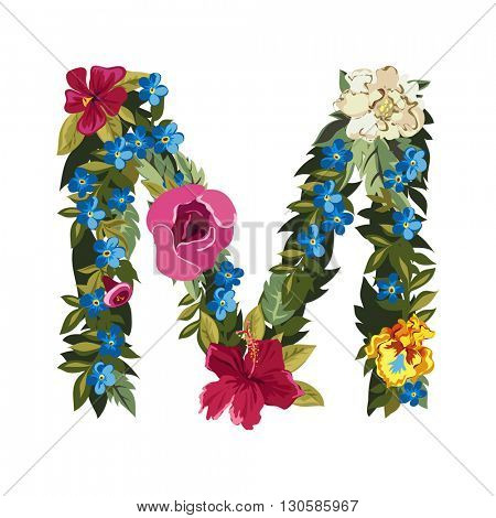 M letter. Flower capital alphabet. Colorful font. Uppercase. Vector illustration. Grotesque style. Floral alphabet.