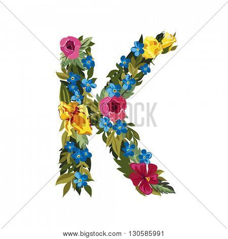 K letter. Flower capital alphabet. Colorful font. Uppercase. Vector illustration. Grotesque style. Floral alphabet.