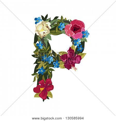 P letter. Flower capital alphabet. Colorful font. Uppercase. Vector illustration. Grotesque style. Floral alphabet.