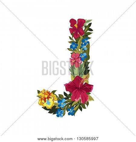 J letter. Flower capital alphabet. Colorful font. Uppercase. Vector illustration. Grotesque style. Floral alphabet.