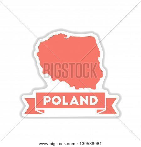 paper sticker on white  background map of Poland