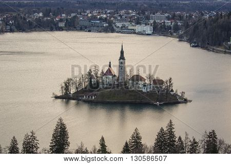 Famous view of island with church in the middle of Lake Bled