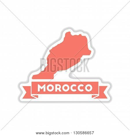paper sticker on white  background Morocco map