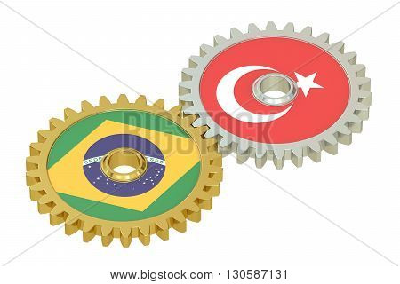 Brazil and Turkish flags on a gears 3D rendering isolated on white background