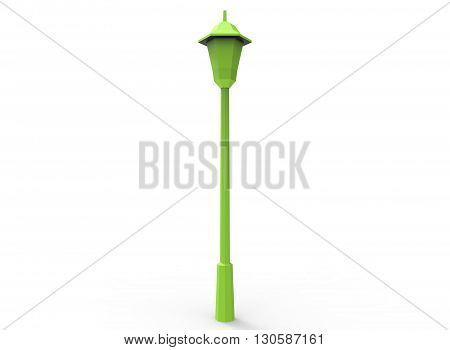 3d illustration of simple street light. cartoon low poly style. green lantern. on white background isolated with shadow.