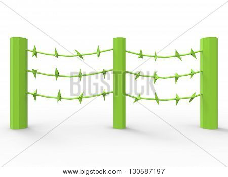 3d illustration of barbed wire. cartoon low poly style. on white background isolated with shadow