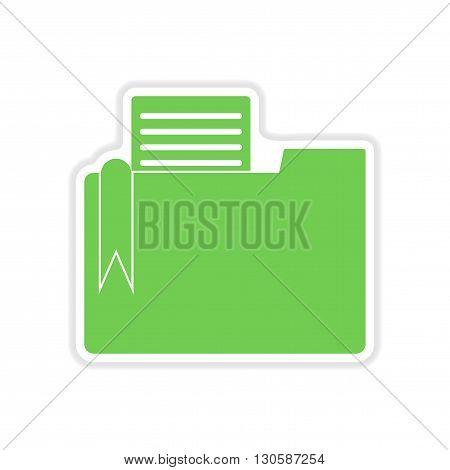 paper sticker on white  background documents folder