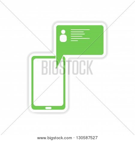 paper sticker on white  background cell phone message