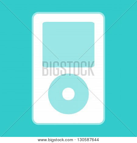 Portable music device. White icon with whitish background on torquoise flat color.