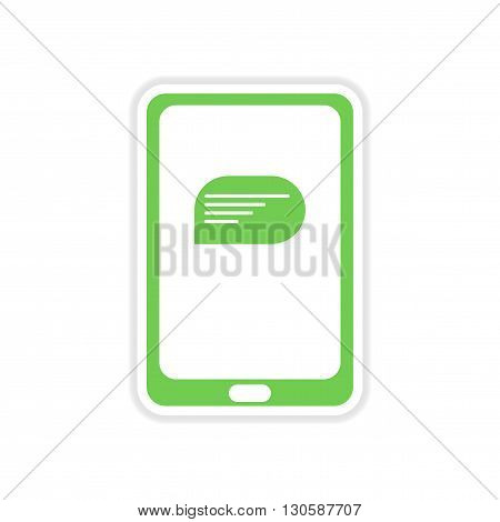 paper sticker on white  background mobile phone message