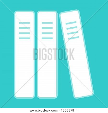 Row of binders, office folders icon. White icon with whitish background on torquoise flat color.