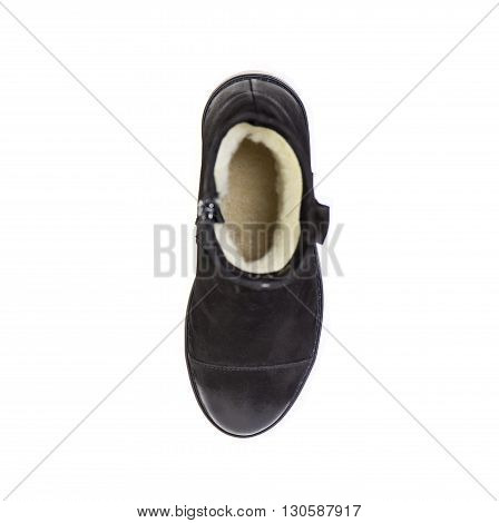 Suede Women's Boots On A White Background, Black Shoes, Autumn And Winter, Top View
