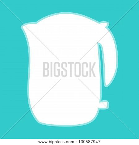 Electric kettle icon. White icon with whitish background on torquoise flat color.
