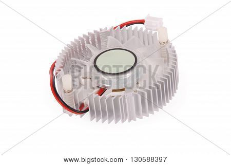 Close-up shot of a computer CPU cooler isolated on white background with soft shadow (Clipping path)