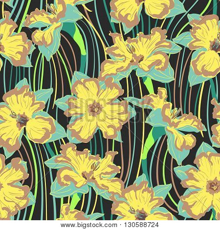 narcissus flower seamless pattern delicate yellow and black