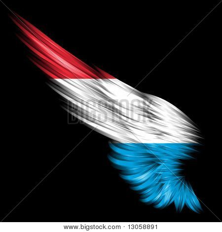 Abstract Wing With Luxembourg Flag On Black Background