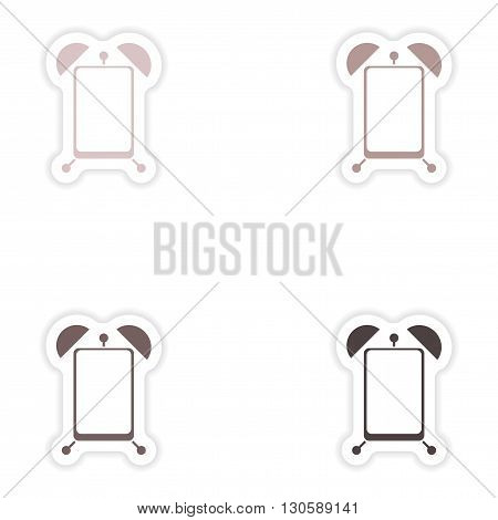 Set paper sticker on white background  Mobile Phone alarm clock