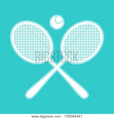 Tennis racket icon. White icon with whitish background on torquoise flat color.