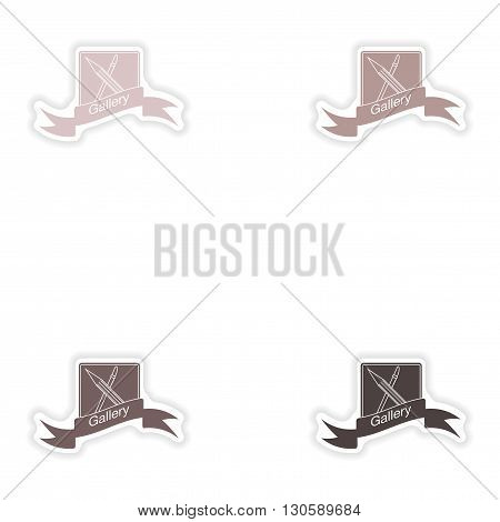 Set paper sticker on white background  mobile phone gallery