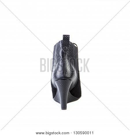 Suede Women's Boots On A White Background, Black Shoes, Autumn And Winter, Rear View