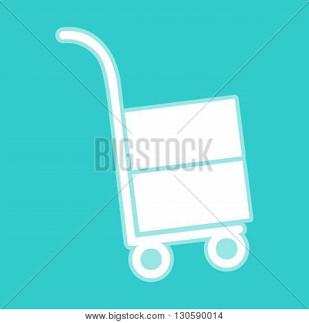 Hand truck icon. White icon with whitish background on torquoise flat color.