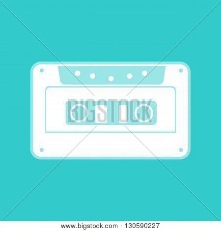 Cassette icon, audio tape sign. White icon with whitish background on torquoise flat color.