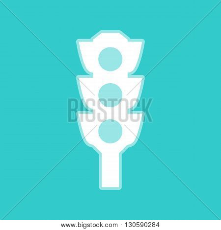 Traffic light sign. White icon with whitish background on torquoise flat color.