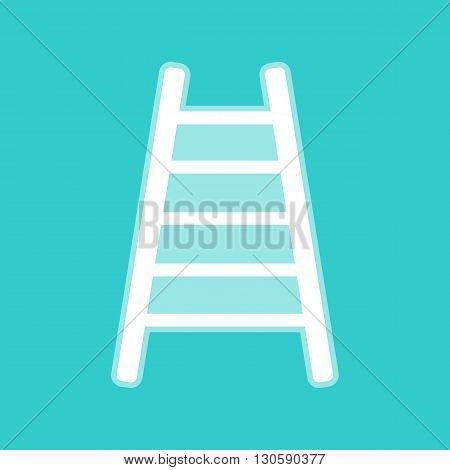 Ladder sign. White icon with whitish background on torquoise flat color.